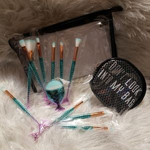 Mermaid Makeup brushes with cosmetic bags